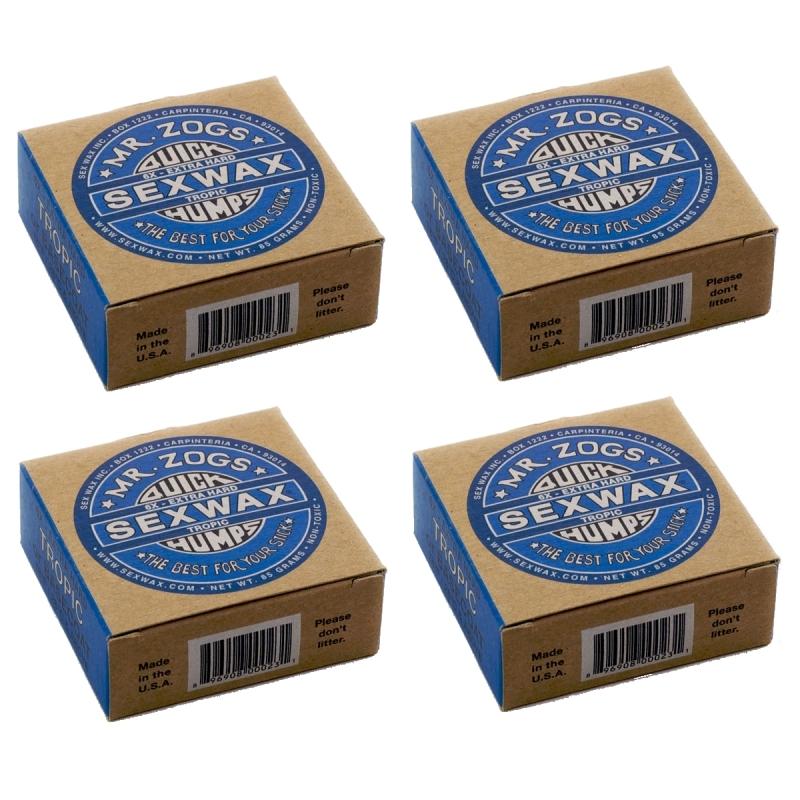 SexWax Quick Humps 6X Tropical Water Surf Wax - 4 Block Pack