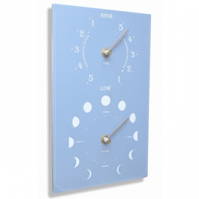 Ashortwalk Recycled Moon Phase and Tide Clock Blue