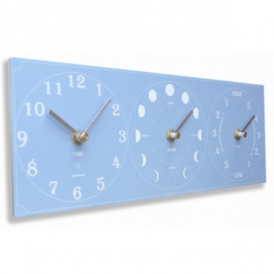 Ashortwalk Recycled Moon Time and Tide Clock Blue