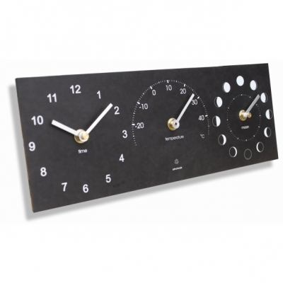 Ashortwalk Recycled Moon Phase Thermometer and Time Clock