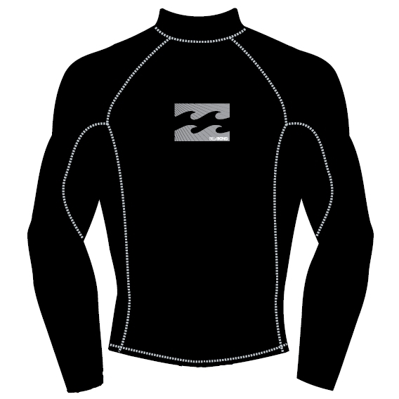 Billabong Mens Rash Vest All Day LS High Collar Black