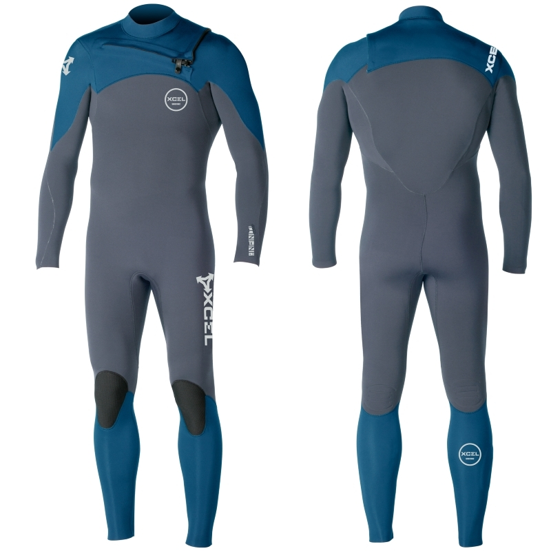 Xcel 4/3mm Infiniti Comp Wetsuit Chest Zip Graphite Blue