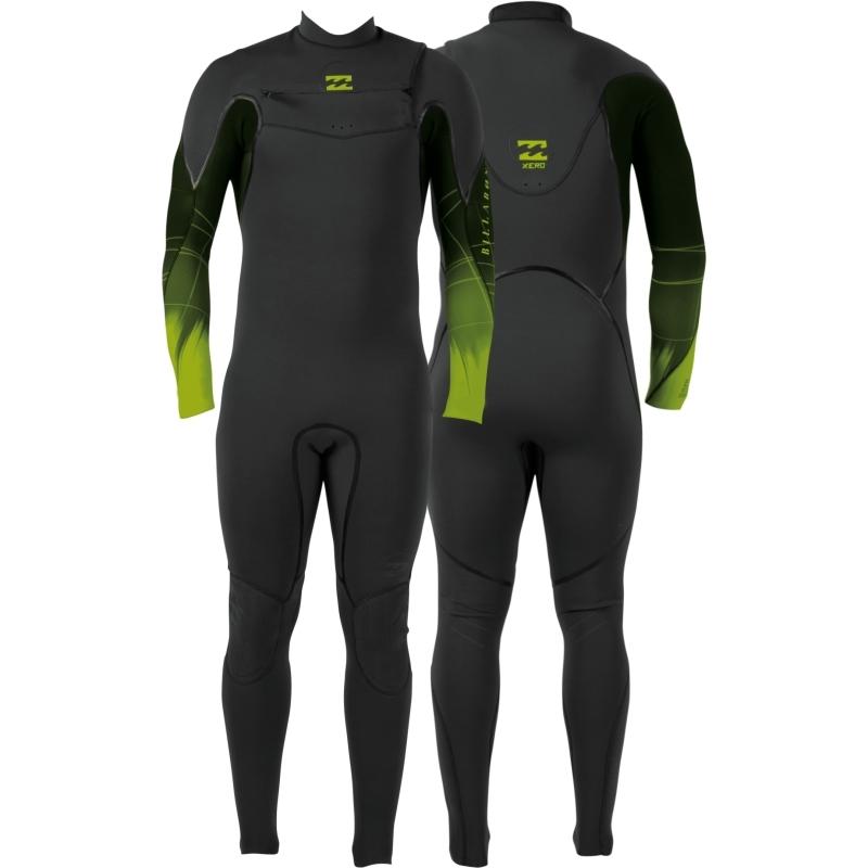 Billabong 5/4 Xero Revolution Wetsuit Chest Zip Black Lime