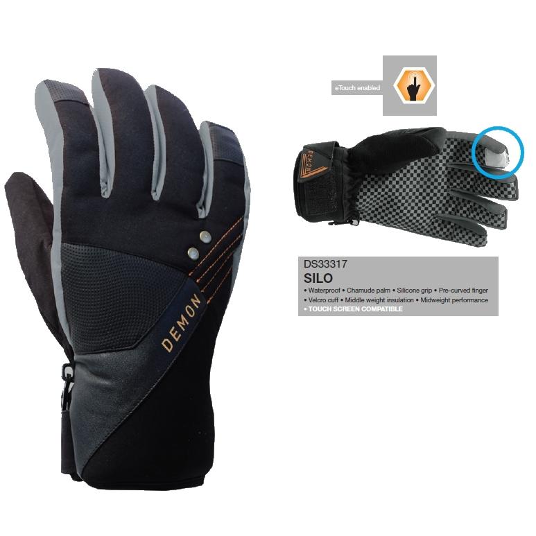 Demon Mens Snowboard Gloves Silo Black
