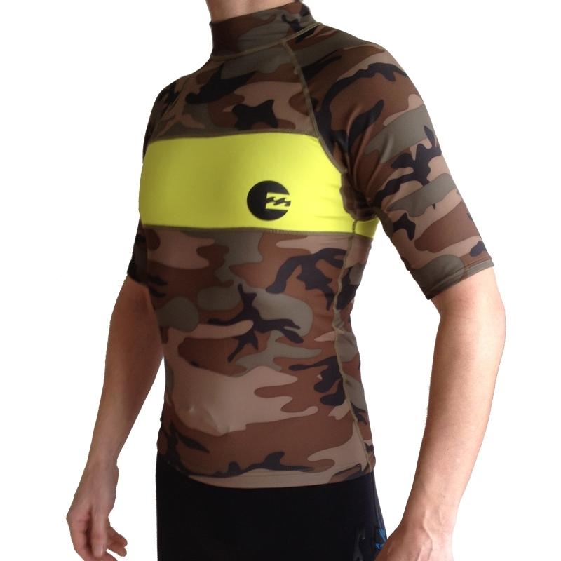 Billabong Invert SS Short Sleeved Rash Vest Green Camo