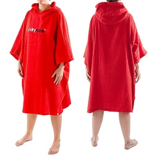 Dryrobe Red Toweling Beach Changing Robe Short Sleeved