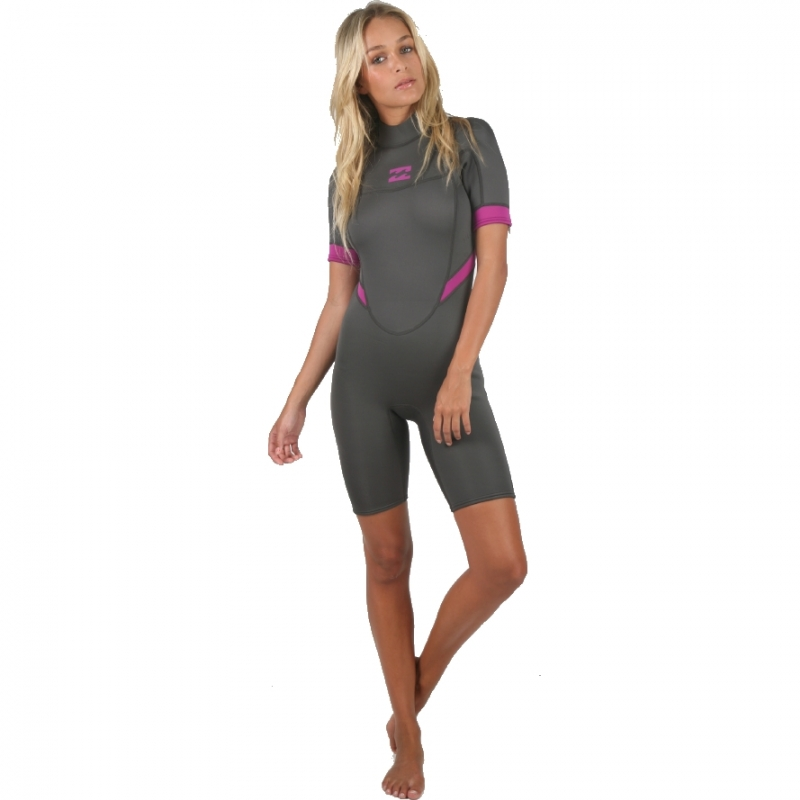 Billabong 2mm Synergy Shorty Wetsuit Off Black Pink