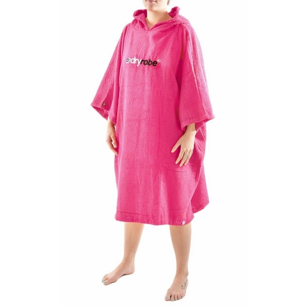 Dryrobe Pink Toweling Beach Changing Robe Short Sleeved