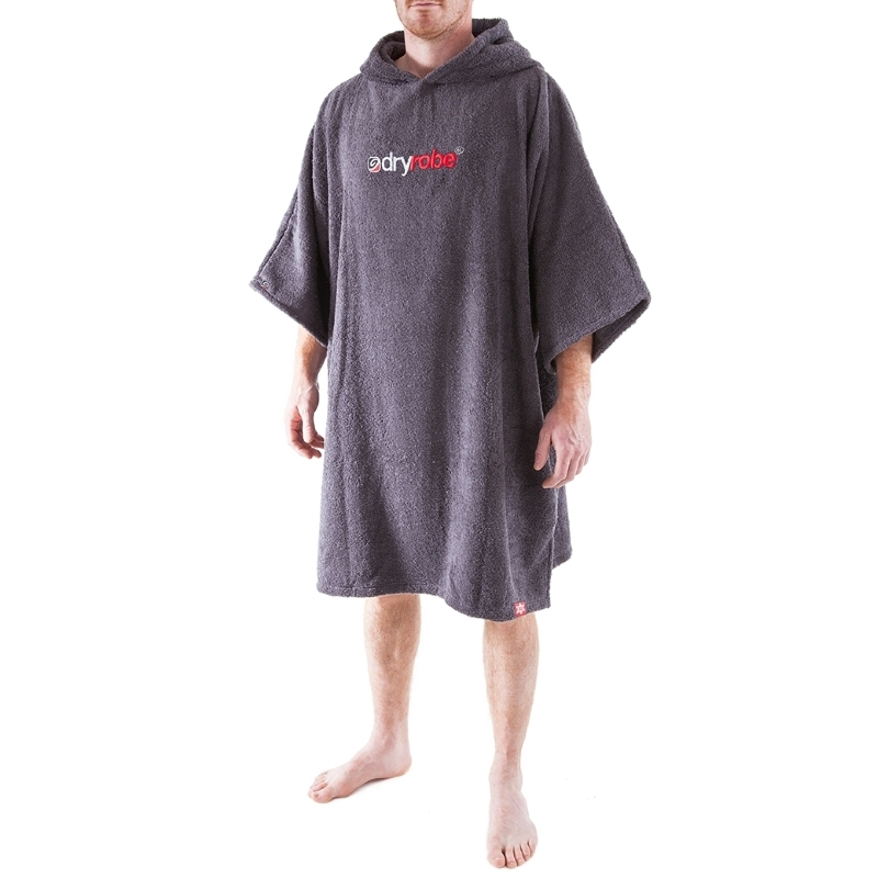 Dryrobe Slate Grey Toweling Beach Changing Robe Short Sleeved