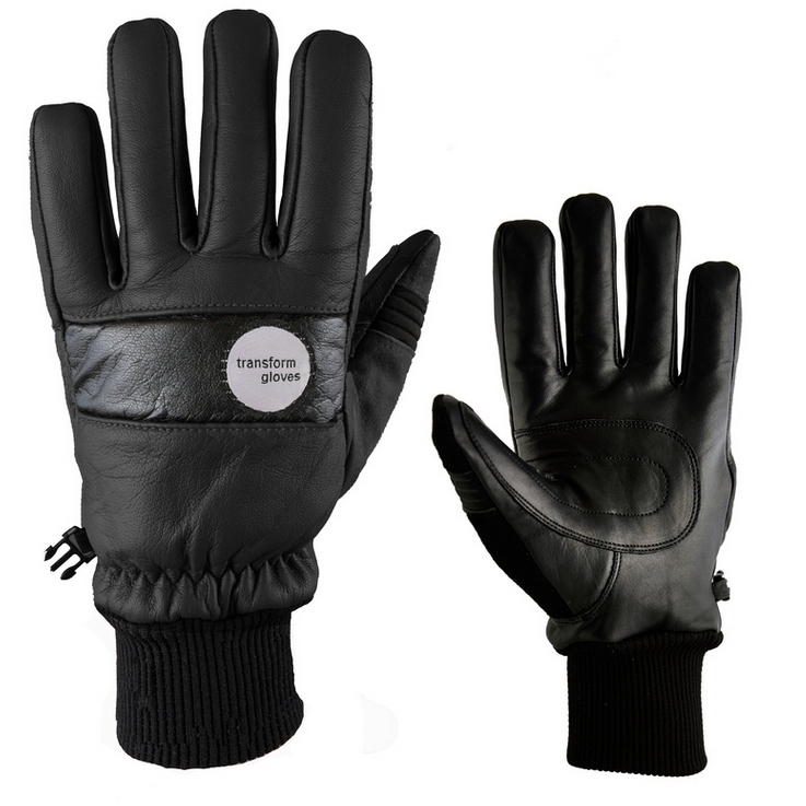 Transform Photo Incentive Leather Snowboard Gloves Black