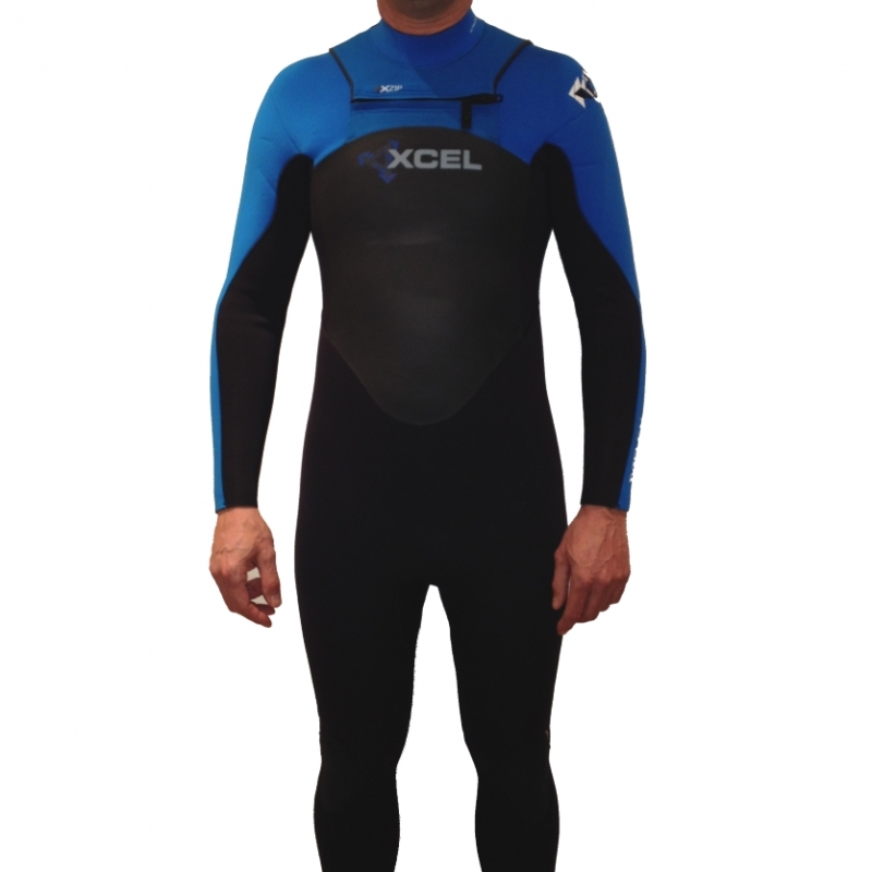 Xcel 5mm X-Flex Wetsuit XZip Chest Zip Black Blue