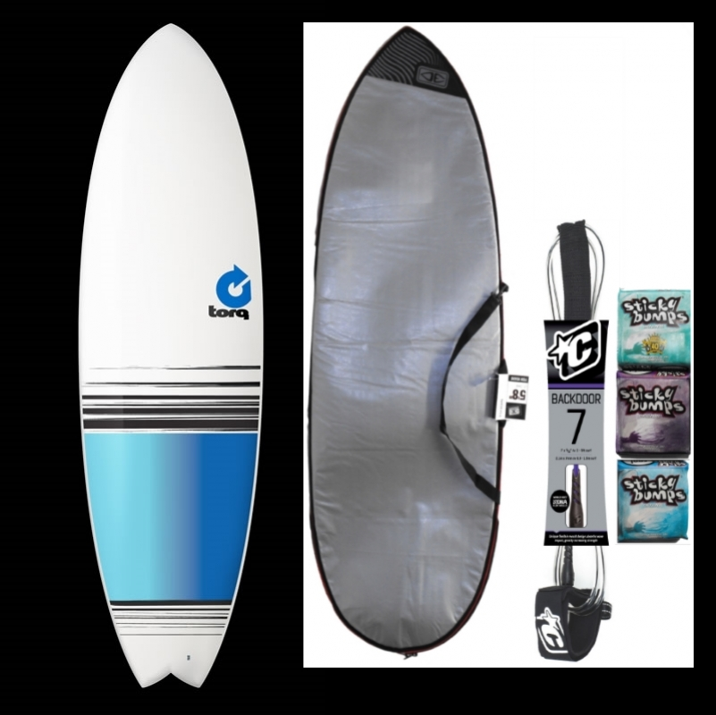 Torq 6ft3 Fish Surfboard Package Blue Colour Fade
