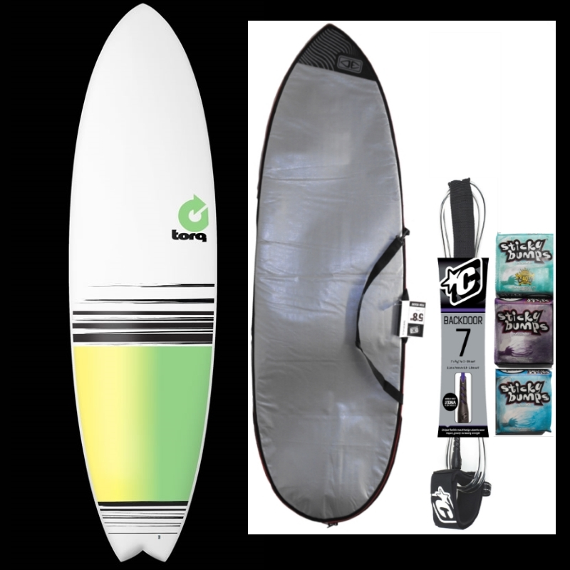 Torq 6ft10 Fish Surfboard Package Green Colour Fade