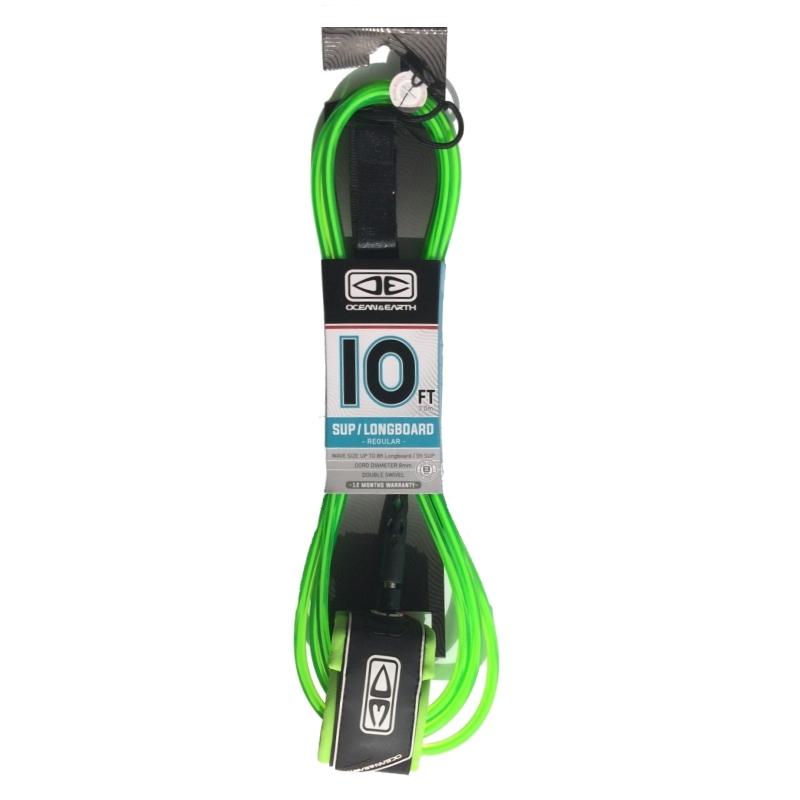Ocean Earth Regular SUP Longboard Leash 10ft Lime