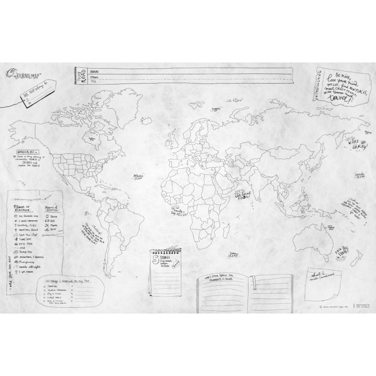 Journal Map Soft Crumpled Writeable World Map