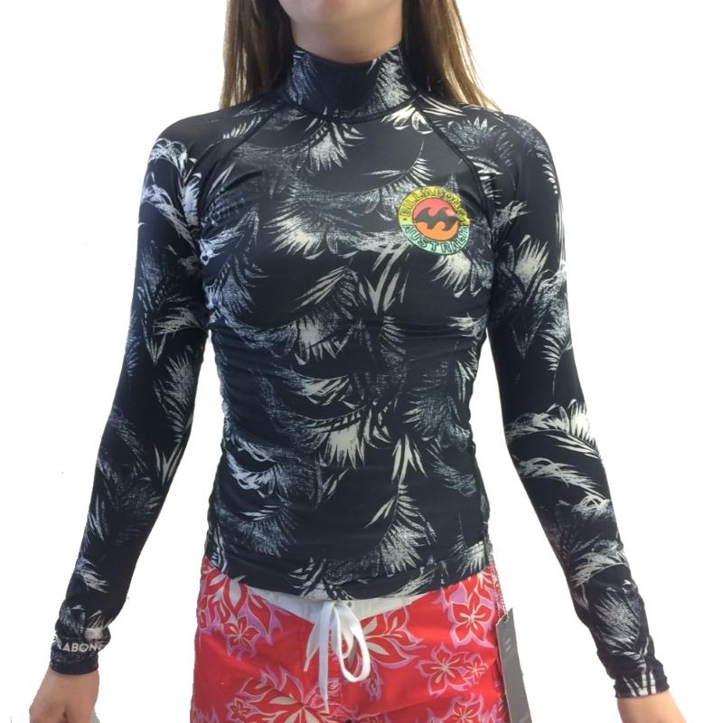 Billabong Womens Surf Capsule LS Rash Vest Black Sands