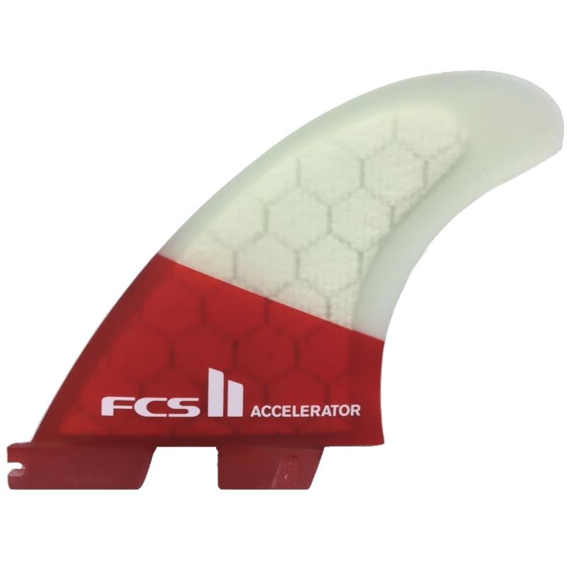 FCS II Accelerator PC Thruster Surfboard Fins Medium Red