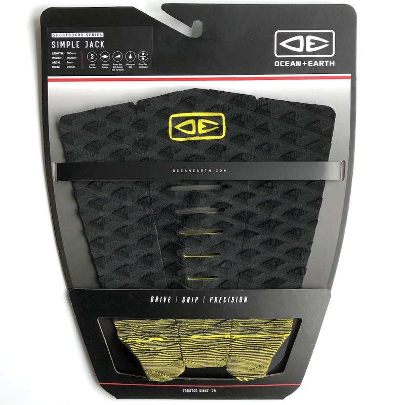 Ocean Earth Simple Jack Surfboard Tail Pad Black Lime