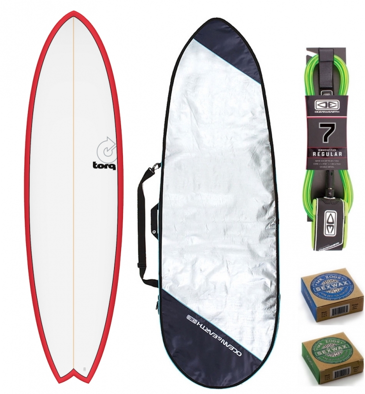 Torq 6ft10 Fish Surfboard Package Red White
