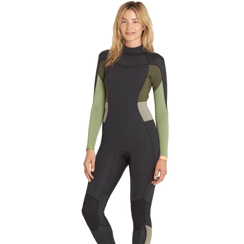 Billabong 5/4mm Womens Synergy Wetsuit Back Zip Tea Green