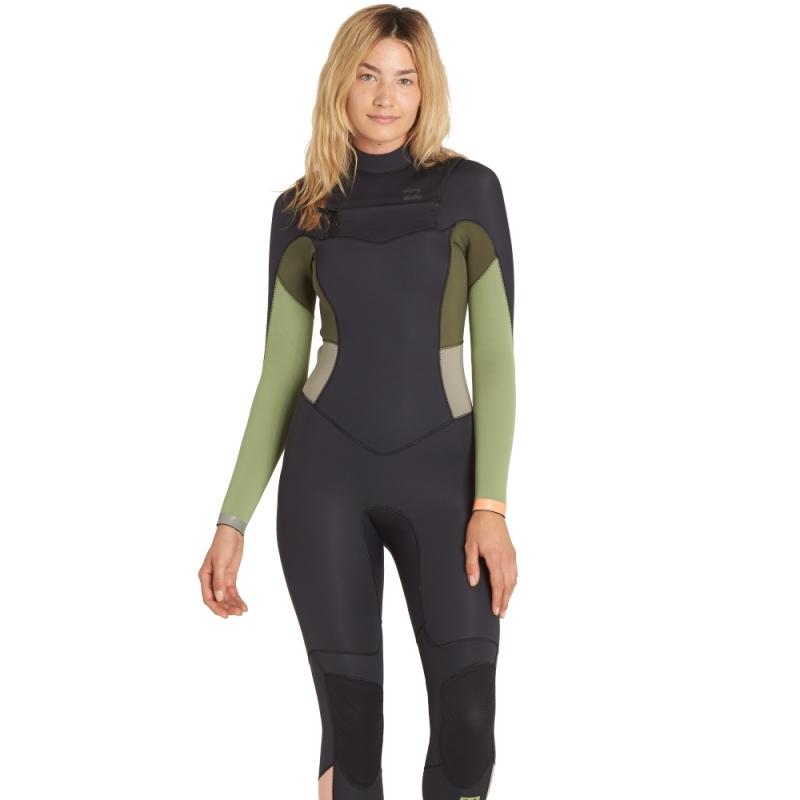 Billabong 5/4mm Womens Synergy Wetsuit Chest Zip Tea Green