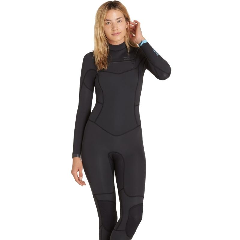 Billabong 4/3mm Womens Synergy Wetsuit Chest Zip Black Sands
