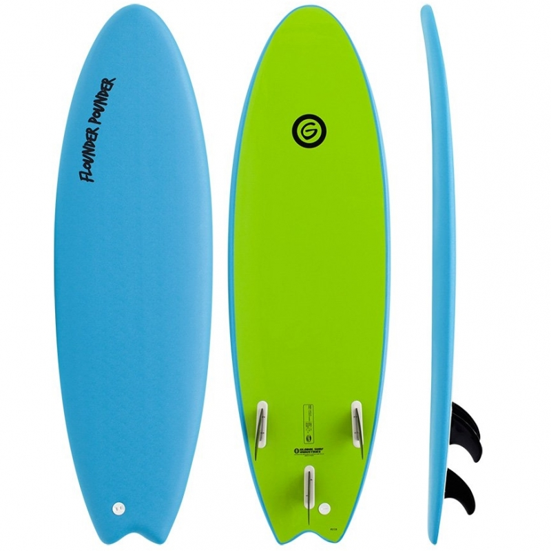 Gnaraloo Flounder Pounder Soft Surfboard 5ft6 Blue Lime