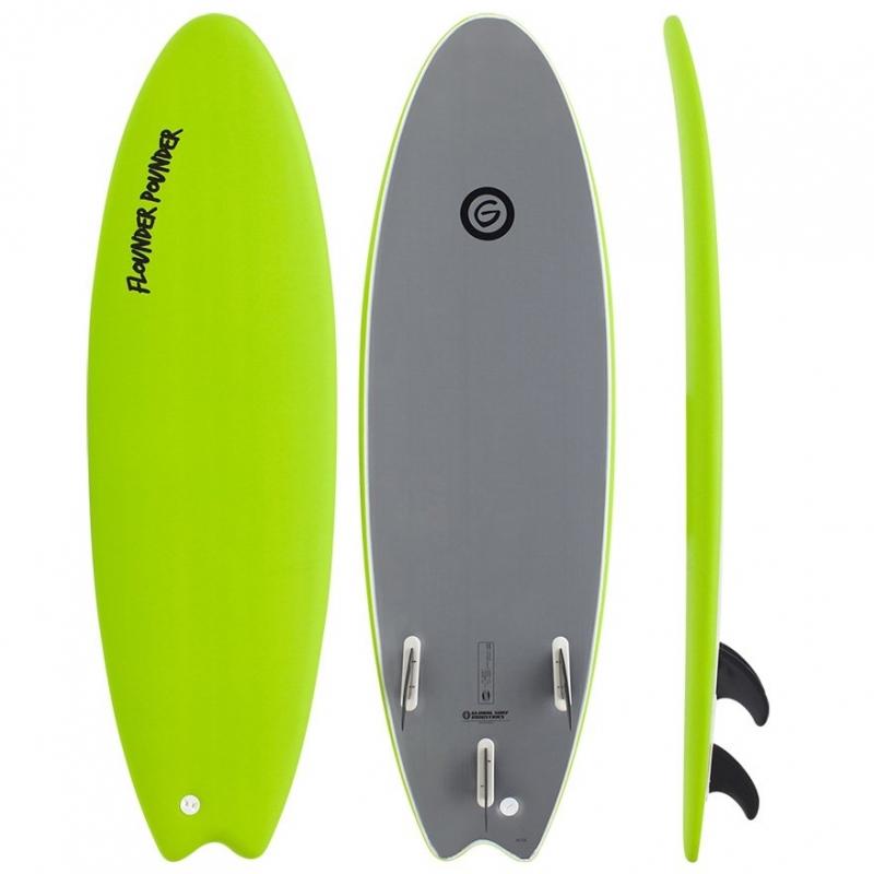 Gnaraloo Flounder Pounder Soft Surfboard 5ft6 Lime Silver