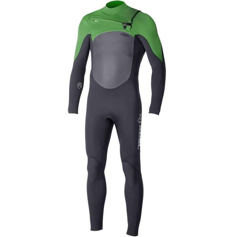 Xcel 3/2 mm Infiniti TDC Wetsuit Chest Zip Black Green