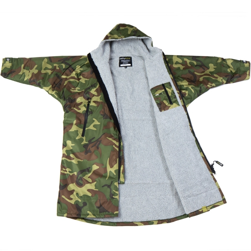 Dryrobe Advance Long Sleeve Beach Changing Robe Camo Grey