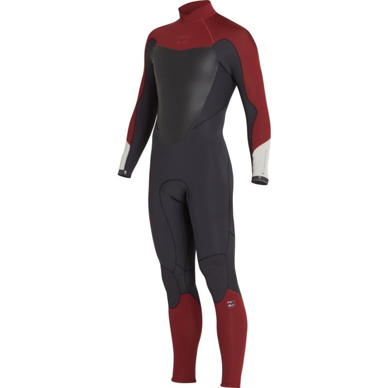 Billabong 3/2mm Mens Absolute Wetsuit Back Zip Biking Red