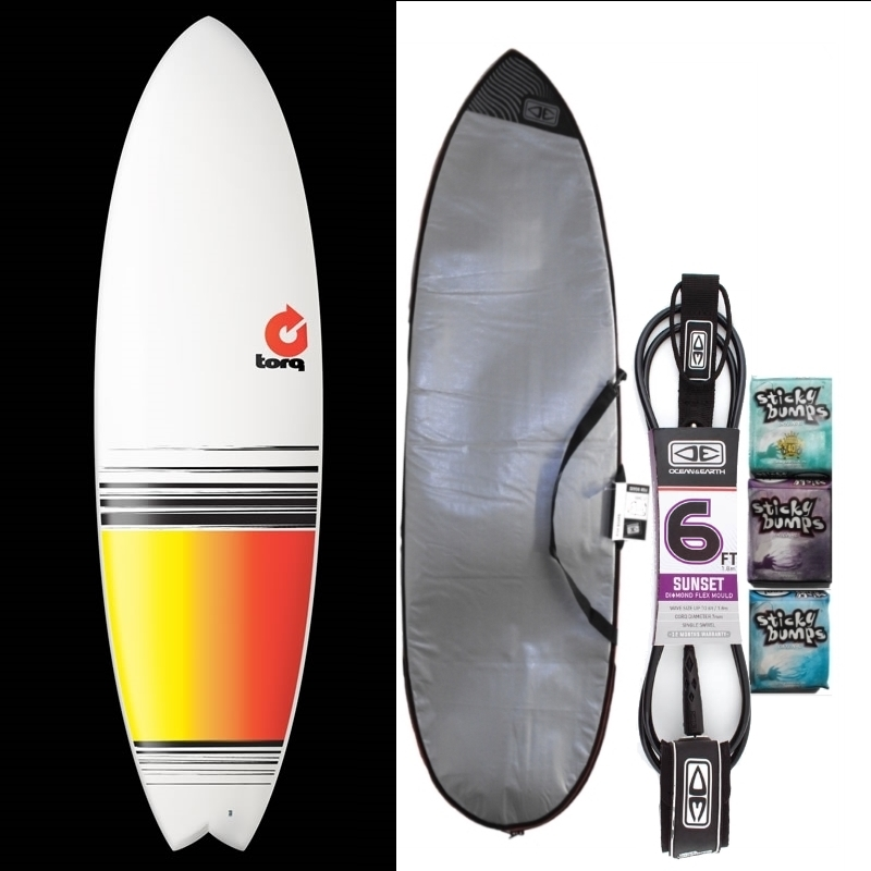 Torq 6ft6 Fish Surfboard Package Full Fade