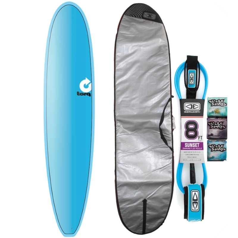 Torq 8ft6 Longboard Surfboard Package Full Fade Blue