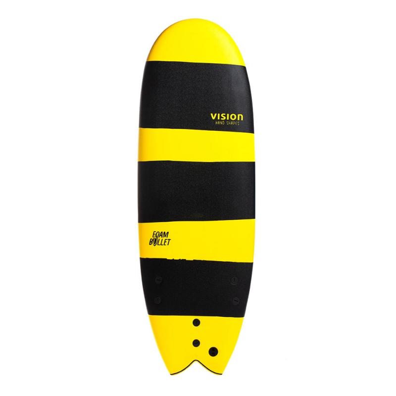 Vision Foam Bullet 5ft4 Soft Surfboard Black Yellow