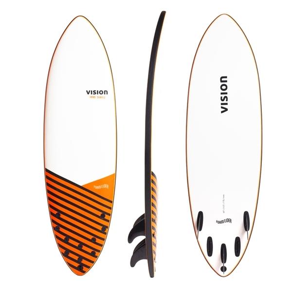 Vision Foam Slider 6ft Soft Surfboard Black Orange