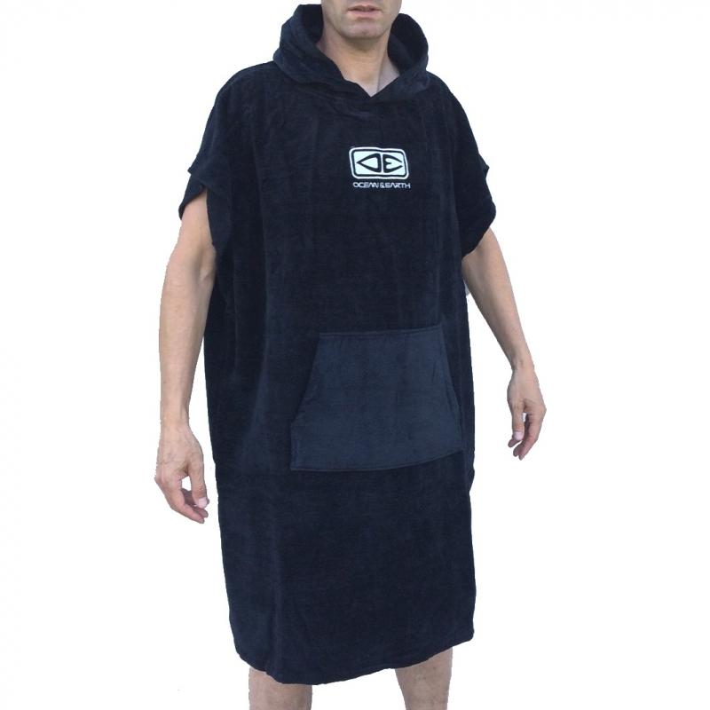 Ocean Earth Mens Poncho Beach Changing Robe Black