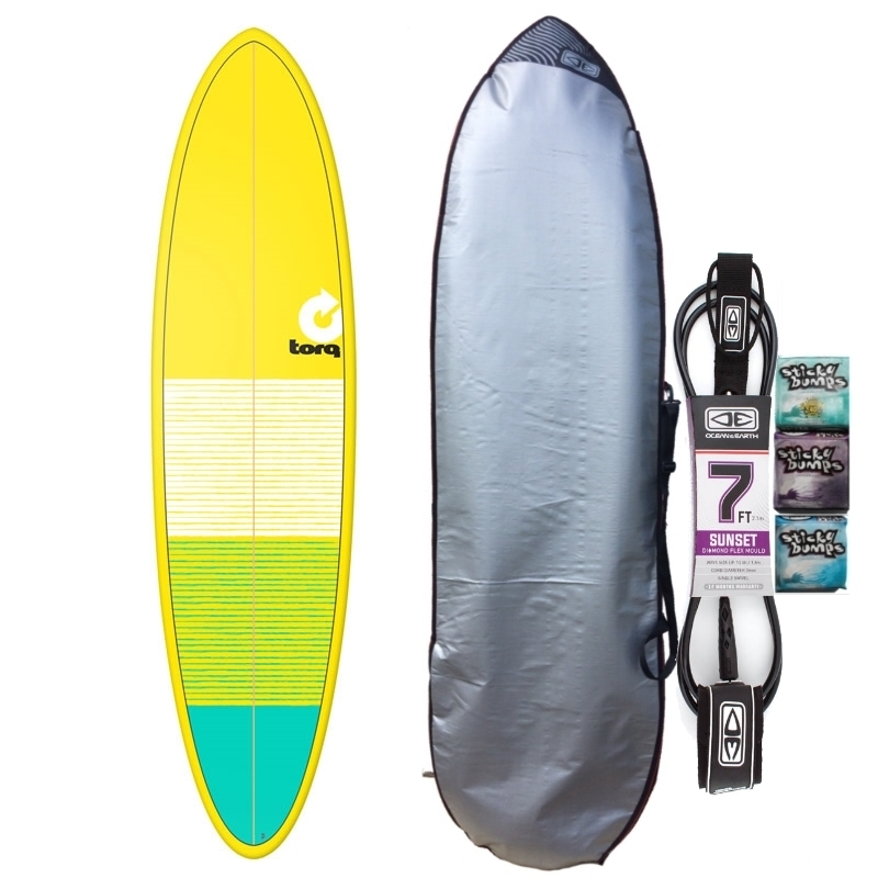 Torq 7ft2 Mini Mal Surfboard Package Lines Yellow Blue