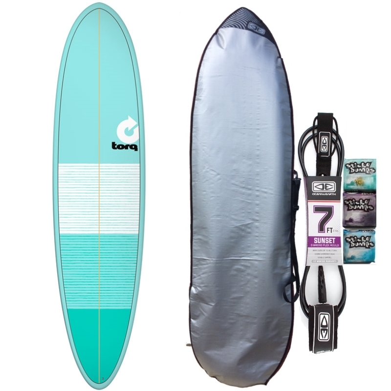 Torq 7ft6 Mini Mal Surfboard Package Lines Sea Green