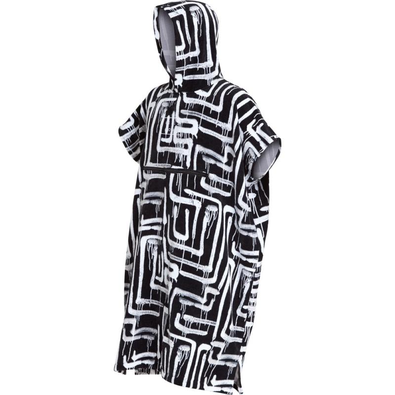 Billabong Hooded Poncho Beach Basha Changing Robe Black Print
