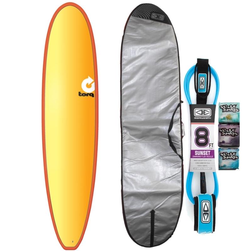 Torq 8ft Longboard Surfboard Package Full Fade 2018